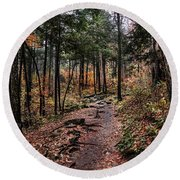 Round Beach Towel featuring the photograph Lost In Thought On The Blue Ridge Parkway Trail by Debbie Green
