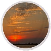 Lost In Wispy Cloudy Round Beach Towel