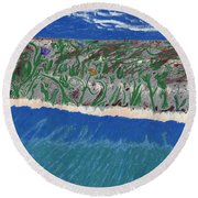 Round Beach Towel featuring the painting Lost Island by Kim Pate