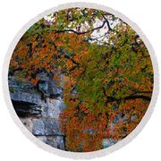 Fall Foliage At Lost Maples State Natural Area  Round Beach Towel