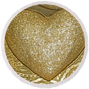 Lost My Golden Heart Round Beach Towel