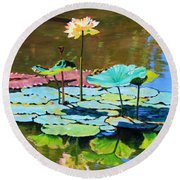 Lotus Above The Lily Pads Round Beach Towel