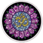 Lotus Aum Round Beach Towel