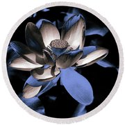 Lotus By Night Round Beach Towel