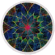 Lotus Round Beach Towel by Klara Acel