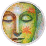 Lotus Meditation Buddha Round Beach Towel by Sue Halstenberg