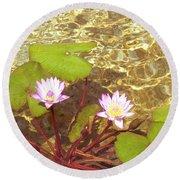 Round Beach Towel featuring the photograph Lotus by Mini Arora