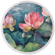 Lotus Pond Round Beach Towel