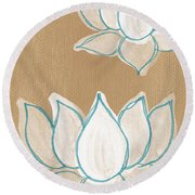 Lotus Serenity Round Beach Towel