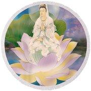 Lotus-sitting Avalokitesvara  Round Beach Towel