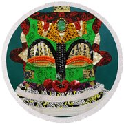 Round Beach Towel featuring the tapestry - textile Lotus Warrior by Apanaki Temitayo M