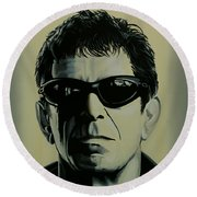 Lou Reed Painting Round Beach Towel