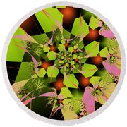 Round Beach Towel featuring the digital art Loud Bouquet by Elizabeth McTaggart