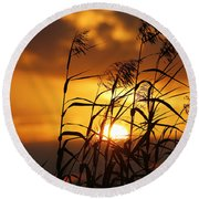Round Beach Towel featuring the photograph Louisiana Marsh Sunset by Luana K Perez