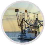 Louisiana Shrimping Round Beach Towel by Charlotte Schafer