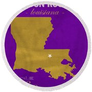 Louisiana State University Tigers Baton Rouge La College Town State Map Poster Series No 055 Round Beach Towel