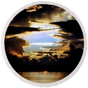Round Beach Towel featuring the photograph Louisiana Sunset Blue In The Gulf  Of Mexico by Michael Hoard