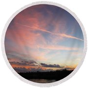 Louisiana Sunset In Lacombe Round Beach Towel