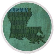 Louisiana Word Art State Map On Canvas Round Beach Towel