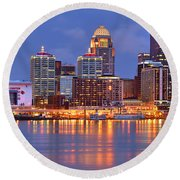 Louisville Skyline At Dusk Sunset Panorama Kentucky Round Beach Towel