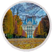Louvre In Fall Round Beach Towel