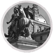 Louvre Man On Horse Round Beach Towel