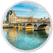 Louvre Museum And Pont Royal - Paris  Round Beach Towel by Luciano Mortula