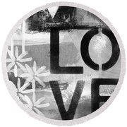 Love- Abstract Painting Round Beach Towel
