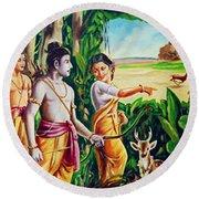 Round Beach Towel featuring the painting Love And Valour- Ramayana- The Divine Saga by Ragunath Venkatraman