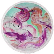 Round Beach Towel featuring the painting Love Birds by Asha Carolyn Young