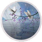 Love Birds By The Light Of The Moon-2 Round Beach Towel