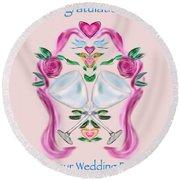 Round Beach Towel featuring the digital art Love Birds Pink Wedding by Christine Fournier