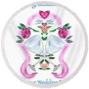 Round Beach Towel featuring the digital art Love Birds White Wedding by Christine Fournier