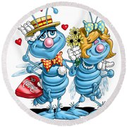 Love Bugs Round Beach Towel