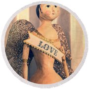 Love Round Beach Towel by Caitlyn  Grasso