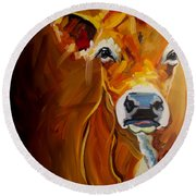 Love Cow Round Beach Towel