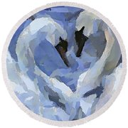 Round Beach Towel featuring the painting Love In Blue by Dragica  Micki Fortuna