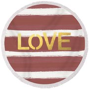Love In Gold And Marsala Round Beach Towel