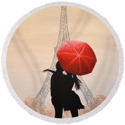 Love In Paris Round Beach Towel