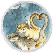 Love In The Moonlight Round Beach Towel