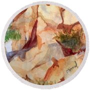 Love In The Rocks Medjugorje 2 Round Beach Towel by Vicki  Housel
