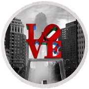 Love Is Always Black And White Square Round Beach Towel
