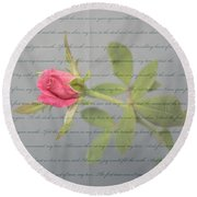 Love Letter Lyrics And Rose Round Beach Towel