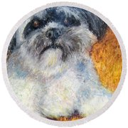 Love My Lhasa Round Beach Towel by Laurie Morgan