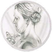 Round Beach Towel featuring the drawing Loves- Her Butterflies by Teresa White