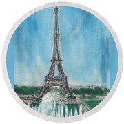 Love Of The Eiffel Round Beach Towel by Mary Armstrong