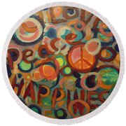 Love Peace Happiness Round Beach Towel