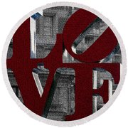 Love Philadelphia Red Mosaic Round Beach Towel