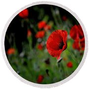 Round Beach Towel featuring the photograph Love Red Poppies by Nava Thompson