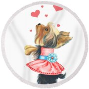Love Without Ends Round Beach Towel by Catia Cho